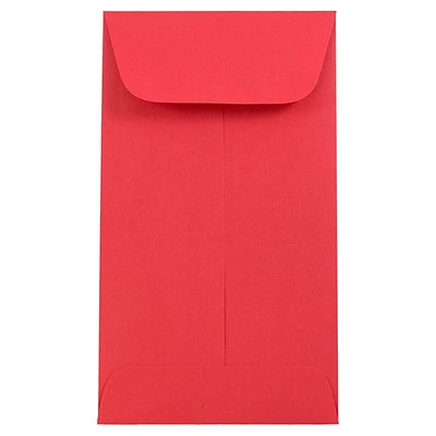 JAM Paper® #6 Coin Envelope, 3 3/8 x 6, Brite Hue Red Recycled, 50/pack