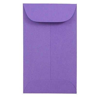 JAM Paper® #3 Coin Envelope, 2 1/2 x 4 1/4, Brite Hue Violet Purple Recycled, 50/pack