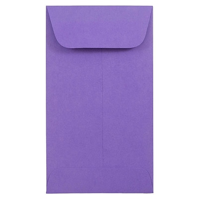 JAM Paper® #6 Coin Envelope, 3 3/8 x 6, Brite Hue Violet Purple Recycled, 50/pack