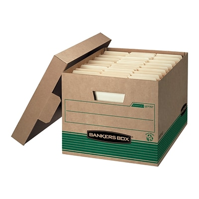 Bankers Box Medium-Duty Recycled FastFold File Storage Boxes, Lift-Off Lid, Letter/Legal Size, Brown, 12/Carton (12770)
