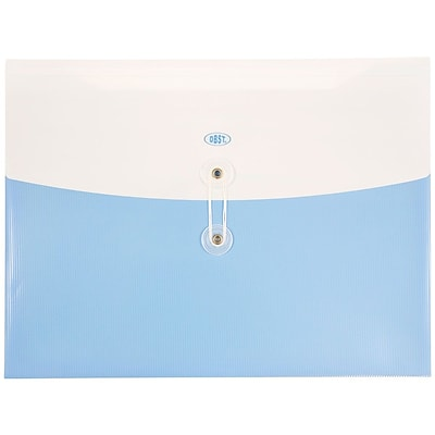 JAM Paper® Plastic Envelopes with Button and String Tie Closure, Letter Booklet, 9 3/4 x 13, Two Tone Light Blue, 12/pack