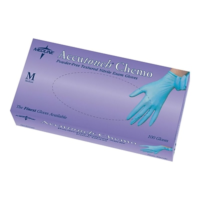 Accutouch Chemo Powder Free Blue Nitrile Gloves, Large, 100/Box (MDS192086H)