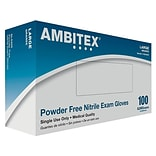 Ambitex N200BLK Series Powder Free Black Nitrile Gloves, Large, 100/Pack, 10 Packs/Carton (NLG200BLK