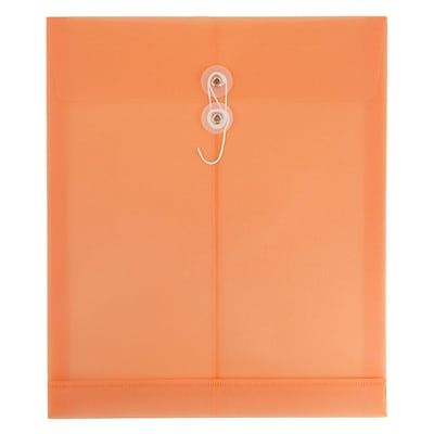 JAM Paper® Plastic Envelopes with Button & String Closure, Letter Open End, 9 3/4 x 13, Peach, 12/pack
