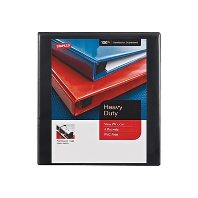 Staples Heavy Duty 1/2 3-Ring View Binder, Black (26317)