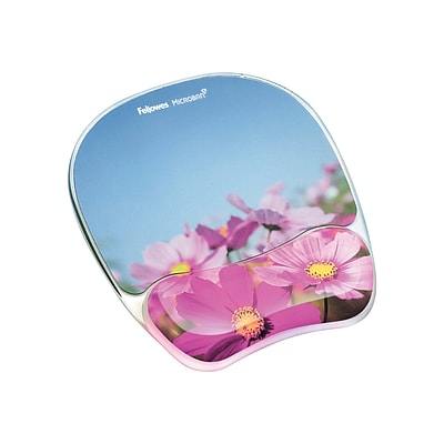 Fellowes Microban Photo Gel Mouse Pad/Wrist Rest Combo, Pink Flowers (9179001)