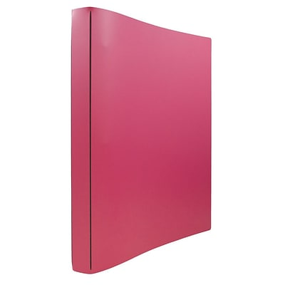 JAM Paper® Italian Leather 3 Ring Binder, 3/4, Fuchsia Pink, Sold Individually