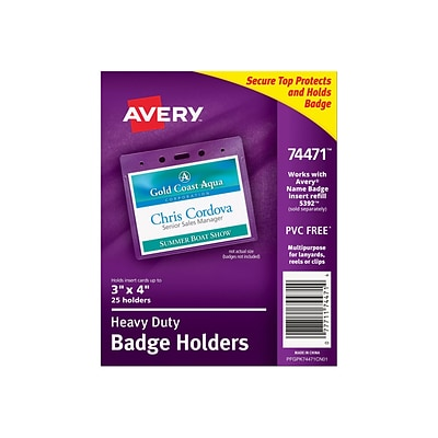 Avery ID Badge Holders, Clear, 25/Pack (74471)