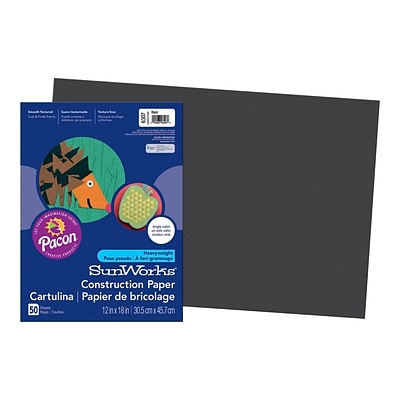 SunWorks 12W x 18L Construction Paper, Black, 50/Pack (6307)