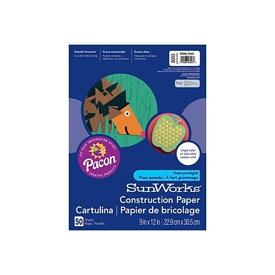 SunWorks 9W x 12L Construction Paper, Holiday Green, 50/Pack (8003)