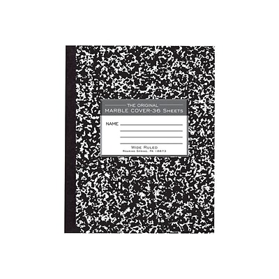 Roaring Spring Composition Notebook, 7 x 8.5 Wide Ruled, 36 Sheets, Black Marble (77332)