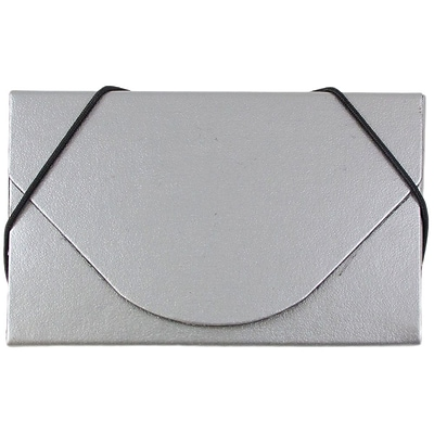 JAM Paper® Business Card Case, Matte Silver, Sold Individually