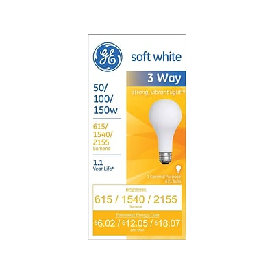 GE Lighting 3-Way 50/100/150 Watts Soft White Incandescent Bulb (97494)