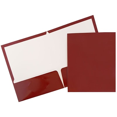 JAM Paper® Glossy Two Pocket Presentation Folder, Maroon, 50/box