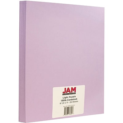 JAM Paper® Matte Cardstock, 8.5 x 11, 130lb Light Purple, 25/pack