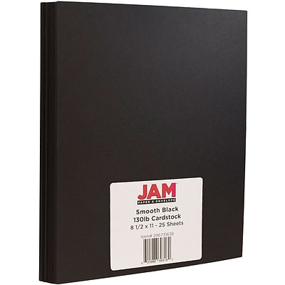 JAM Paper® Matte Cardstock, 8.5 x 11, 130lb Smooth Black, 25/pack