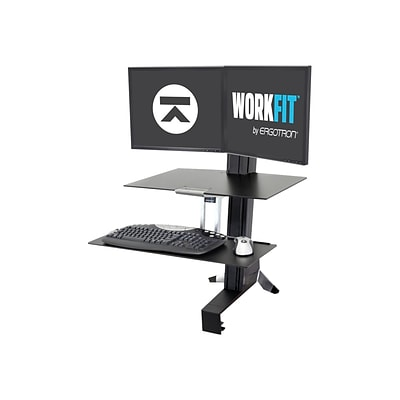 Ergotron WorkFit-S Dual Monitor Stand, Up to 24 Monitors, Black (33-349-200)