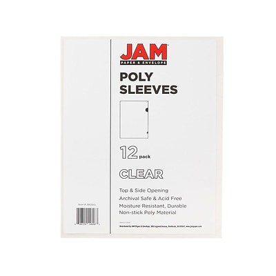 JAM Paper® Plastic Sleeves, 9 x 12, Clear, 12/Pack (2226316988)