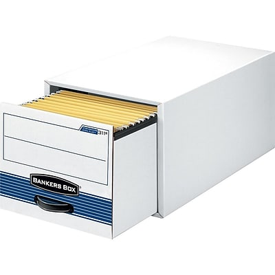 Bankers Box Stor/Drawer Steel Plus Letter 1 Drawer File Storage, White/Blue, 6/Carton (00311)