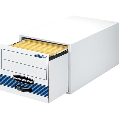 Bankers Box Stor/Drawer Steel Plus Legal 1 Drawer File Storage, White/Blue, 6/Carton (00312)