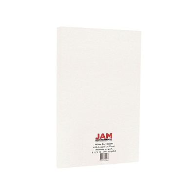 JAM Paper Cardstock Paper, 65 Lbs, 8.5 x 14 (legal), White Parchment, 50/Pack (17128860)