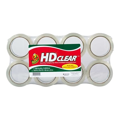 Duck HD Clear Heavy Duty, Acrylic Packing Tape, 1.88 x 54.6 yds., Clear, 8/Pack (282195)