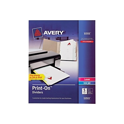 graphic about Avery Printable Tabs called Avery Print-Upon Printable Paper Dividers, 5-Tab, White (11511)
