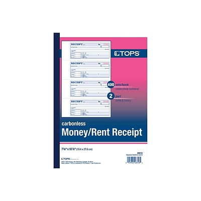 TOPS 2-Part Carbonless Receipts Book, 2.75L x 7.13W, 400 Forms/Book, Each (TOP 46816)