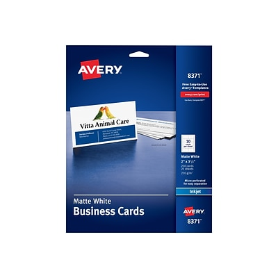 Avery Inkjet Business Cards, 3.5W x 2L, Matte White 250/Pack (8371)