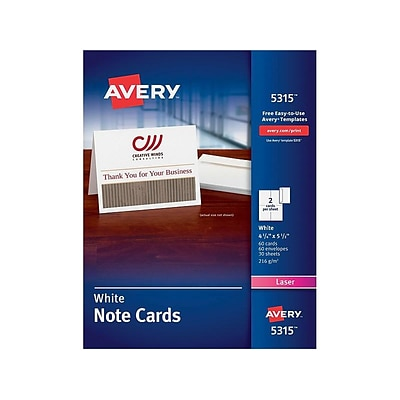Avery Uncoated Notecards, 5.5 x 4.25, White, 60/Box (5315)