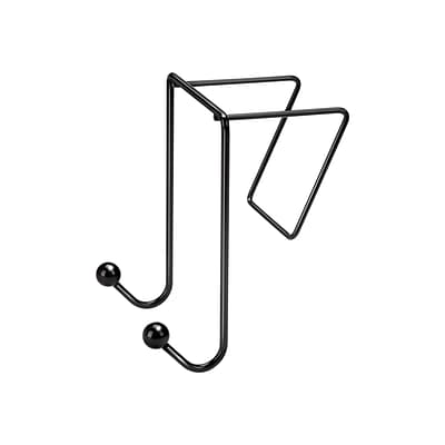 Fellowes Wire Partition Additions Plastic Double Coat Hook, Black (75510)