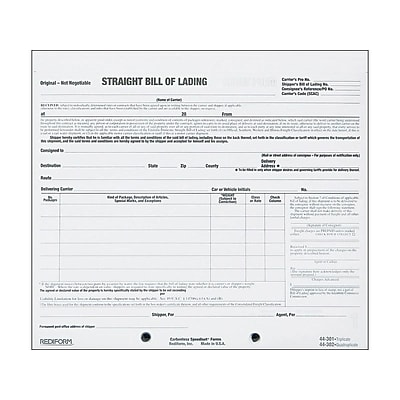 Rediform Snap-A-Way 3-Part Carbonless Bill of Lading Pack, 7L x 8.5W, 250 Forms/Pack (44301)