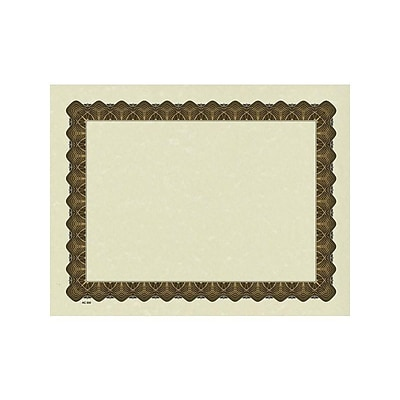 Great Papers Metallic 8.5 x 11 Certificates, Beige/Gold, 100/Pack (934000)