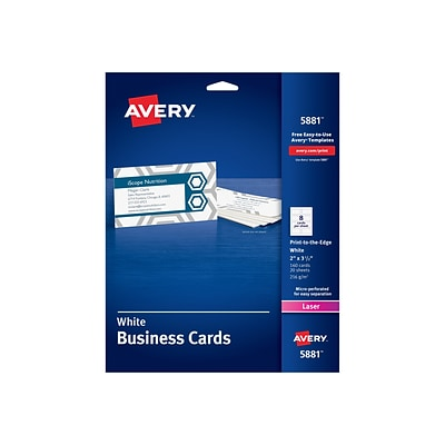 Avery Laser Business Cards, 3.5W x 2L, Uncoated White 160/Pack (5881)