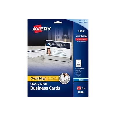 Avery Clean Edge Inkjet Business Cards, 3.5W x 2L, Glossy White, 200/Pack (8859)
