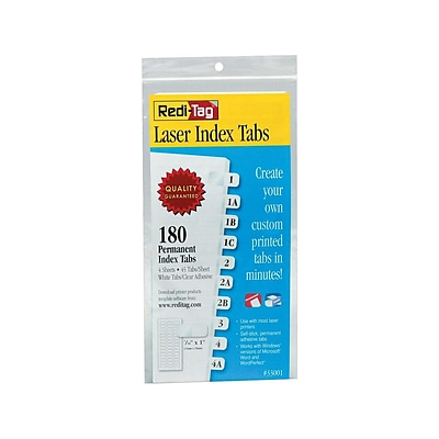 Redi-Tag Laser Tabs, White, 0.44 Wide, 180/Pack (33001)