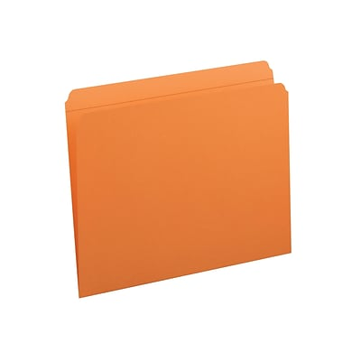 Smead File Folders, Reinforced Straight-Cut Tab, Letter Size, Orange, 100/Box (12510)