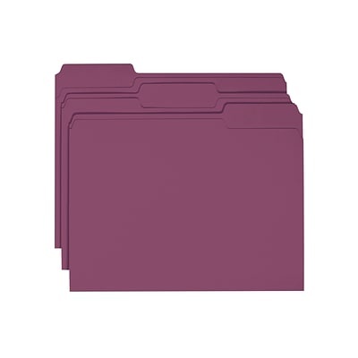 Smead File Folders, 1/3-Cut Tab, Letter Size, Maroon, 100/Box (13093)