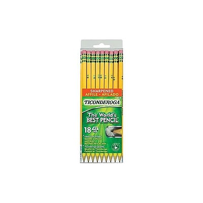 Ticonderoga The Worlds Best Pencil Wooden Pencils, No. 2 Soft Lead, 18/Pack (13818)