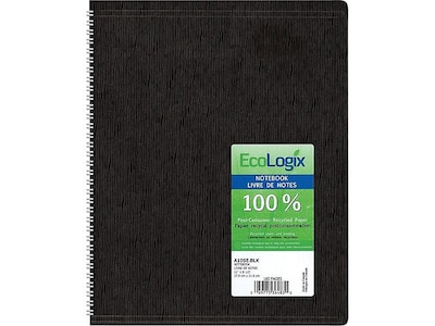 "Blueline Ecologix Professional Notebook, 8.5"" x 11"", College Ruled, 80 Sheets, Black (A10SE.BLK)"