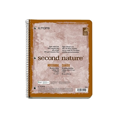 TOPS Second Nature 1-Subject Notebook, 8.5 x 11, College Ruled, 80 Sheets, Assorted Colors (TOP 74111)