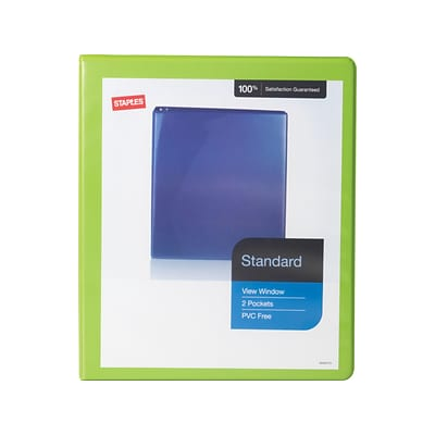 Staples Standard 1/2 3-Ring View Binder, Chartreuse (26428-CC)