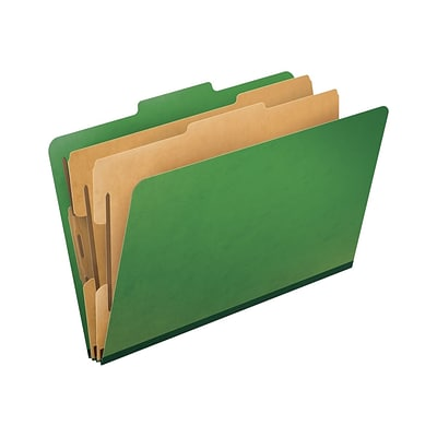 Pendaflex PressGuard Classification Folders, Legal Size, 2 Dividers/6 Section, Green, 10/Box (PFX2257GR)