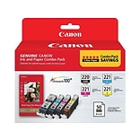Canon PGI 220/CLI-221 Combo with Paper Plus II Black/Color Ink Cartridges, 4/Pack (2945B011)