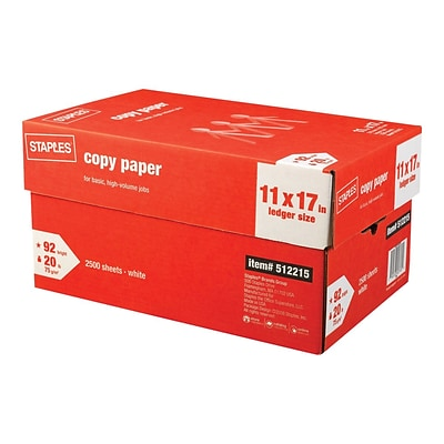 Staples Copy Paper 11 X 17 20 Lbs White 500 Sheets Ream 5 Reams Carton 512215 Quill Com