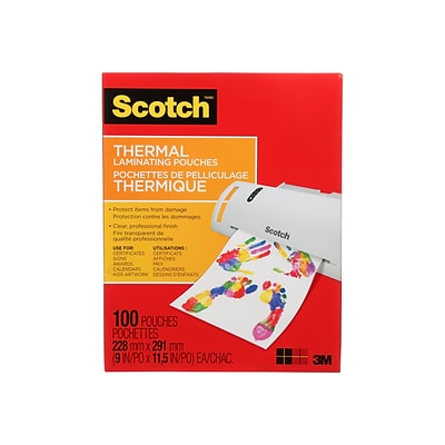 Scotch™ Thermal Laminating Pouches, Letter Size, 100 Pouches (TP3854-100WM)