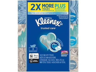 Kleenex Standard Facial Tissue, 2-Ply, 160 Sheets/Box, 3 Boxes/Pack (37392)