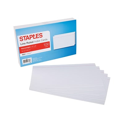 Staples Line Ruled 5 x 8 Index Cards, White, 100/Pack (50987)