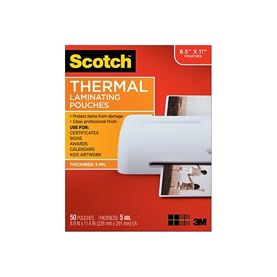 Scotch™ Thermal Laminating Pouches, Letter Size, 50 Pouches (TP5854-50)