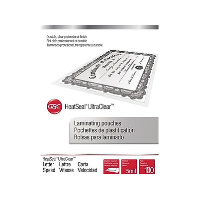 Swingline GBC HeatSeal UltraClear Thermal Pouches, Letter, 100/Pack (3200587)